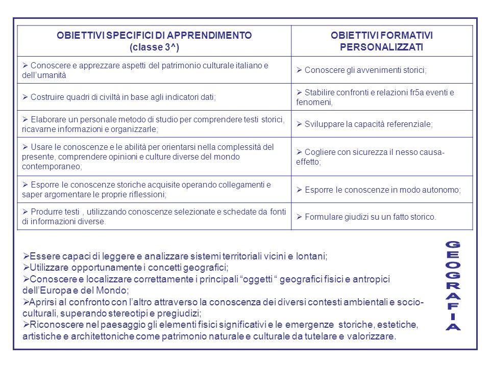 G E O R A F I OBIETTIVI SPECIFICI DI APPRENDIMENTO (classe 3^)