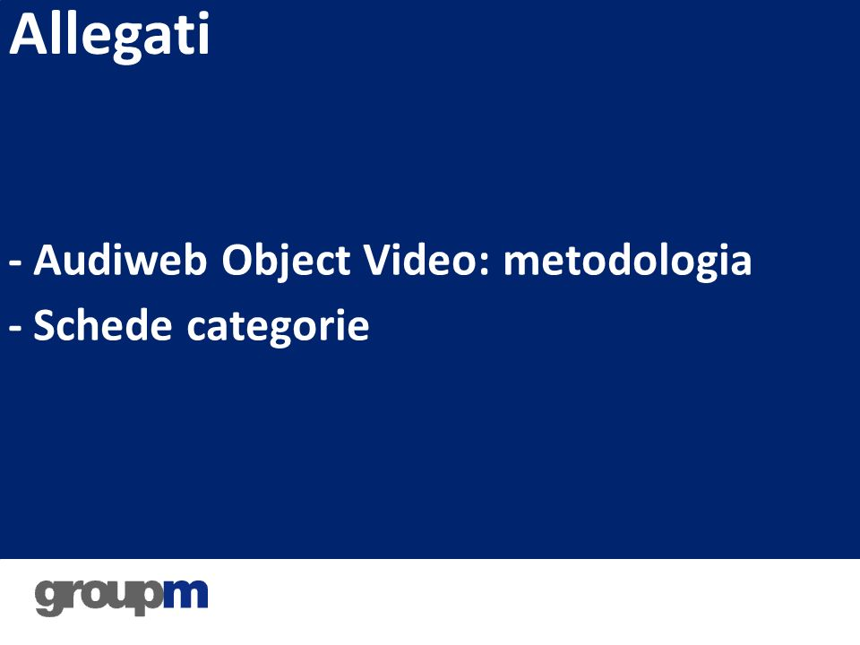 - Audiweb Object Video: metodologia - Schede categorie