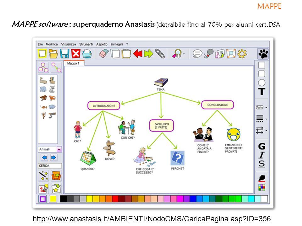 MAPPE MAPPE software : superquaderno Anastasis (detraibile fino al 70% per alunni cert.DSA.