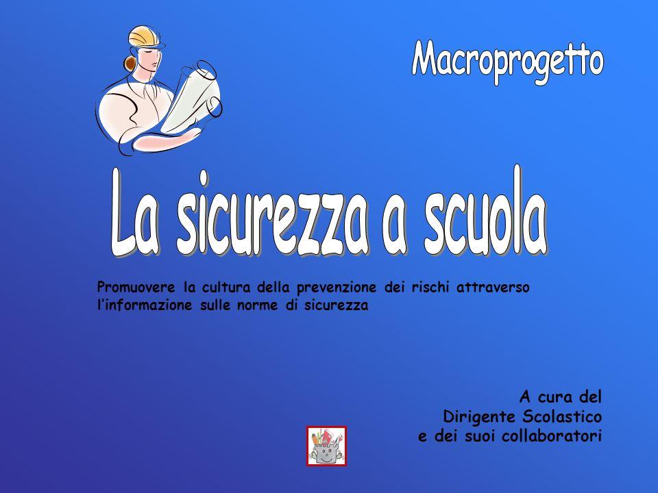 La sicurezza a scuola Macroprogetto A cura del Dirigente Scolastico