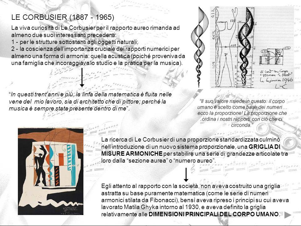 LE CORBUSIER (1887 - 1965) La viva curiosità di Le Corbusier per il rapporto aureo rimanda ad almeno due suoi interessanti precedenti: