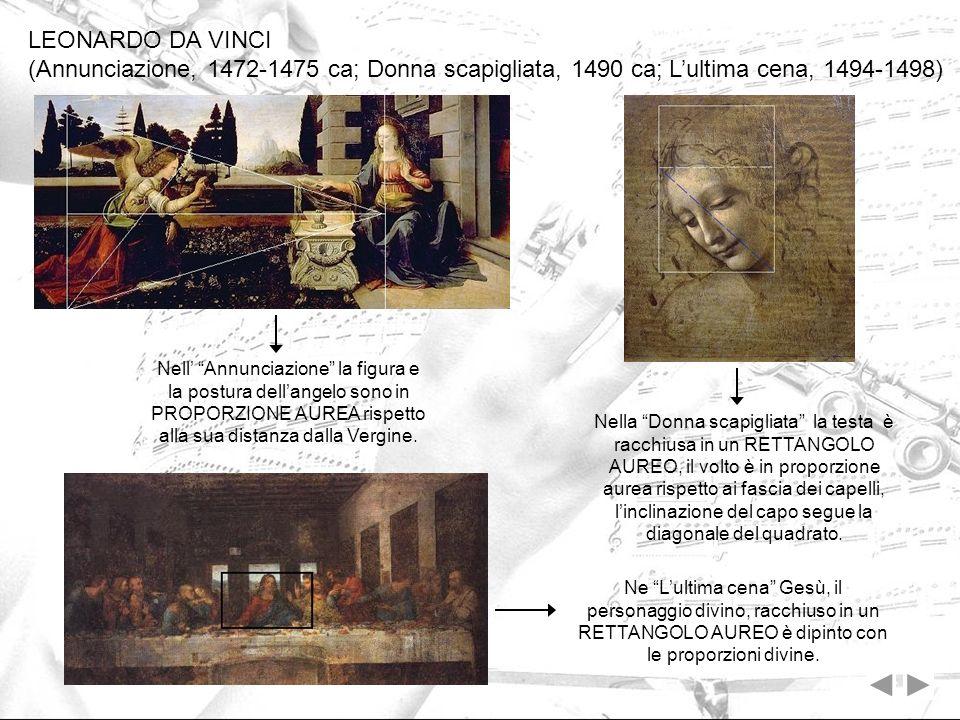 LEONARDO DA VINCI (Annunciazione, 1472-1475 ca; Donna scapigliata, 1490 ca; L'ultima cena, 1494-1498)