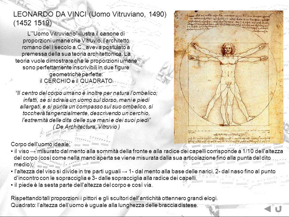 LEONARDO DA VINCI (Uomo Vitruviano, 1490) (1452 1519)