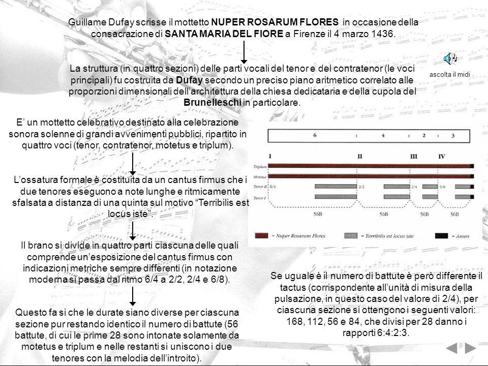 Guillame Dufay scrisse il mottetto NUPER ROSARUM FLORES in occasione della consacrazione di SANTA MARIA DEL FIORE a Firenze il 4 marzo 1436.