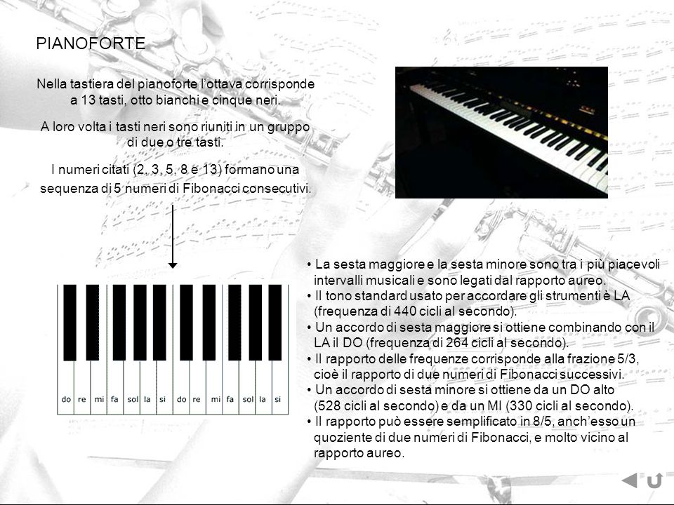 PIANOFORTE Nella tastiera del pianoforte l'ottava corrisponde a 13 tasti, otto bianchi e cinque neri.