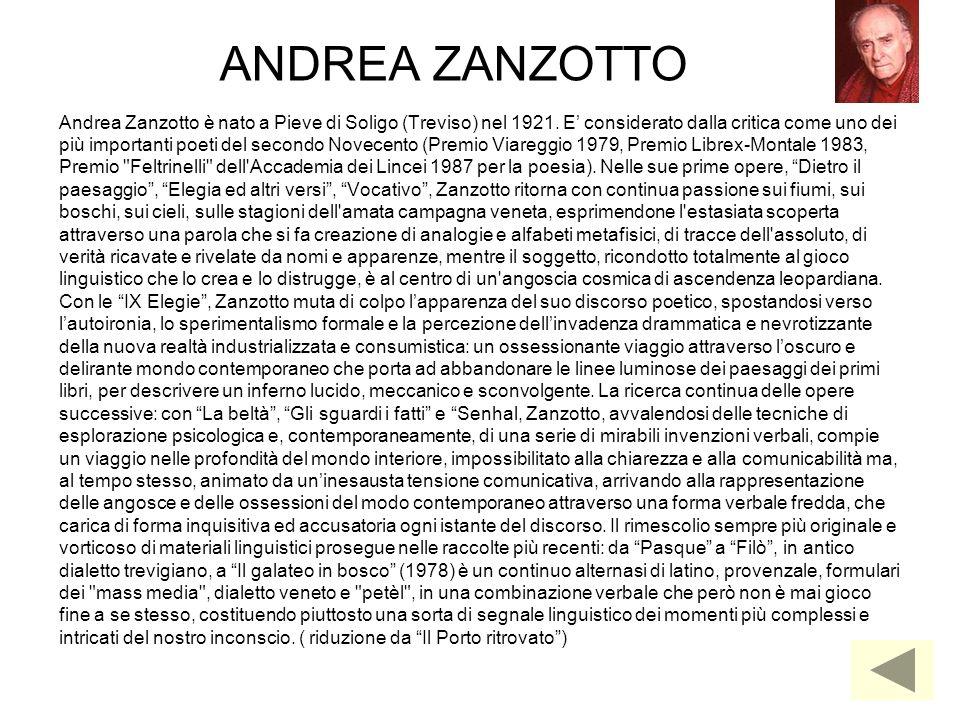 ANDREA ZANZOTTO Andrea Zanzotto è nato a Pieve di Soligo (Treviso) nel 1921. E' considerato dalla critica come uno dei.