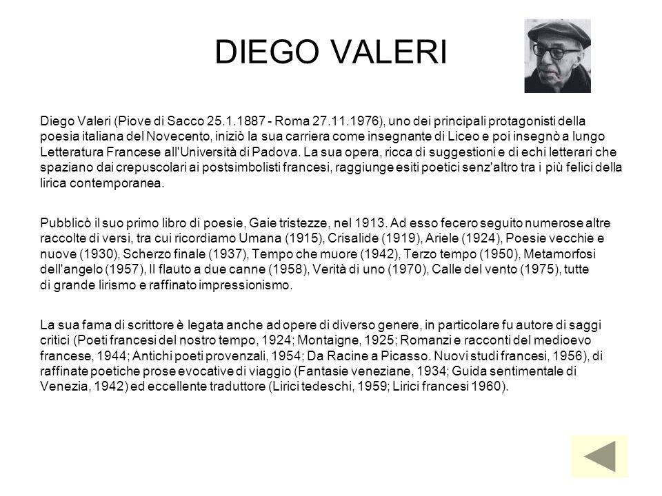 DIEGO VALERI Diego Valeri (Piove di Sacco 25.1.1887 - Roma 27.11.1976), uno dei principali protagonisti della.