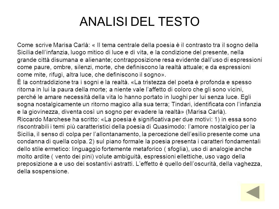 ANALISI DEL TESTO Come scrive Marisa Carlà: « Il tema centrale della poesia è il contrasto tra il sogno della.