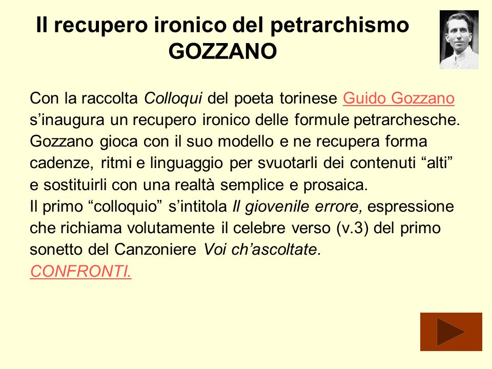 Il recupero ironico del petrarchismo GOZZANO