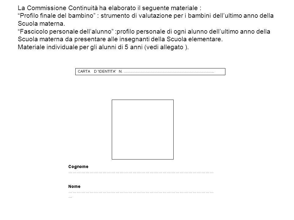 La Commissione Continuità ha elaborato il seguente materiale : Profilo finale del bambino : strumento di valutazione per i bambini dell'ultimo anno della Scuola materna.