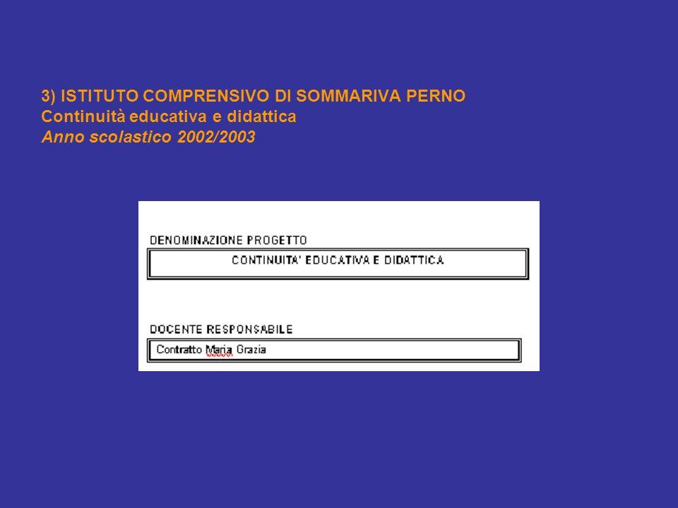 3) ISTITUTO COMPRENSIVO DI SOMMARIVA PERNO Continuità educativa e didattica Anno scolastico 2002/2003