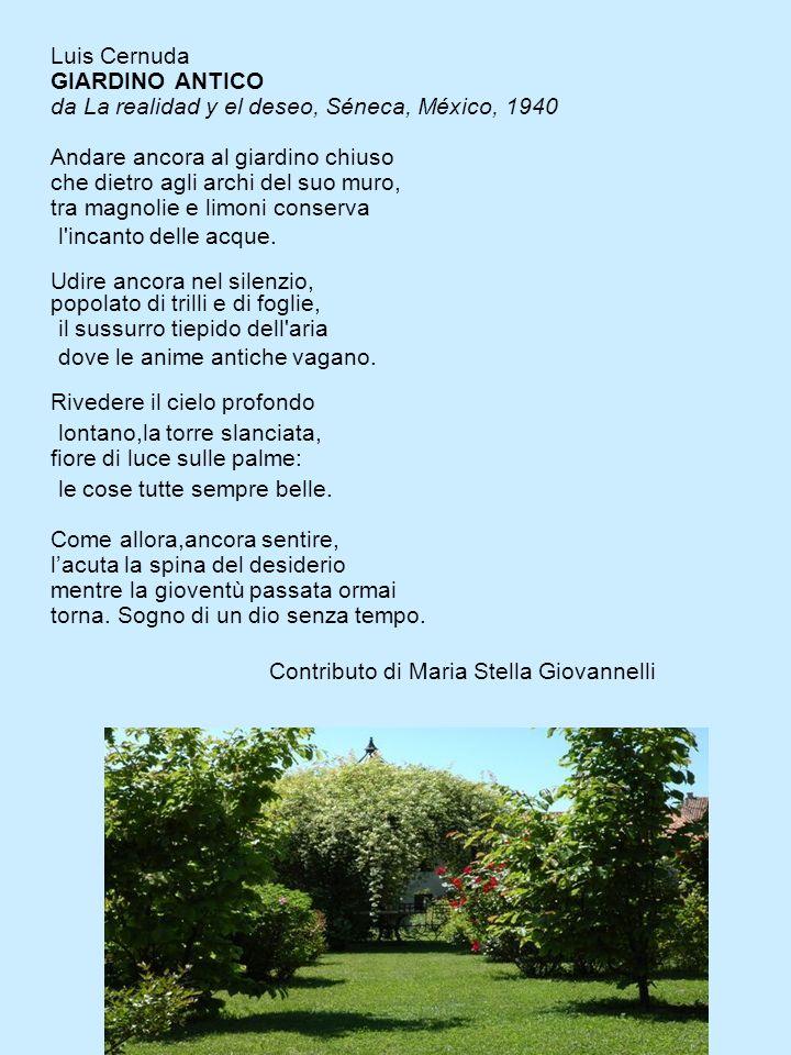 Luis Cernuda GIARDINO ANTICO da La realidad y el deseo, Séneca, México, 1940 Andare ancora al giardino chiuso che dietro agli archi del suo muro, tra magnolie e limoni conserva