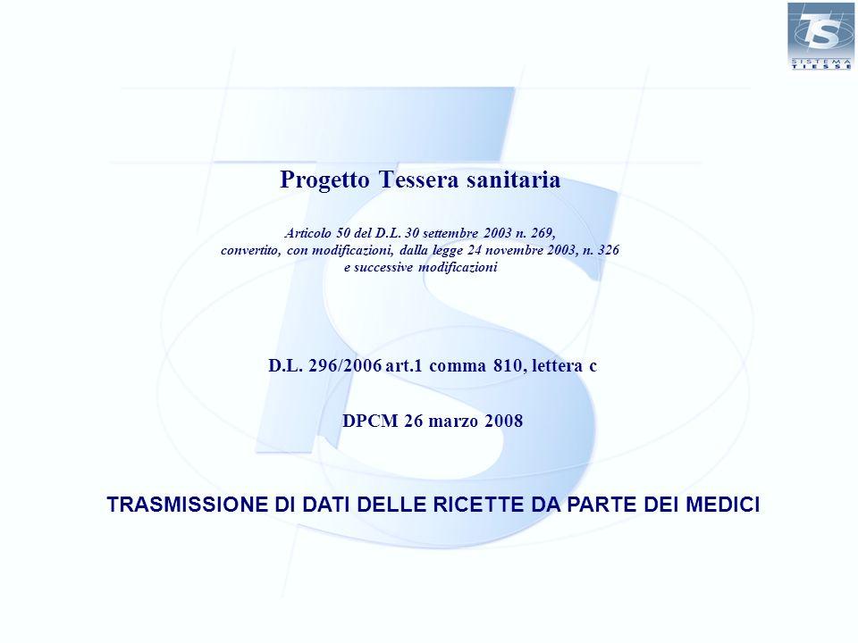 TRASMISSIONE DI DATI DELLE RICETTE DA PARTE DEI MEDICI