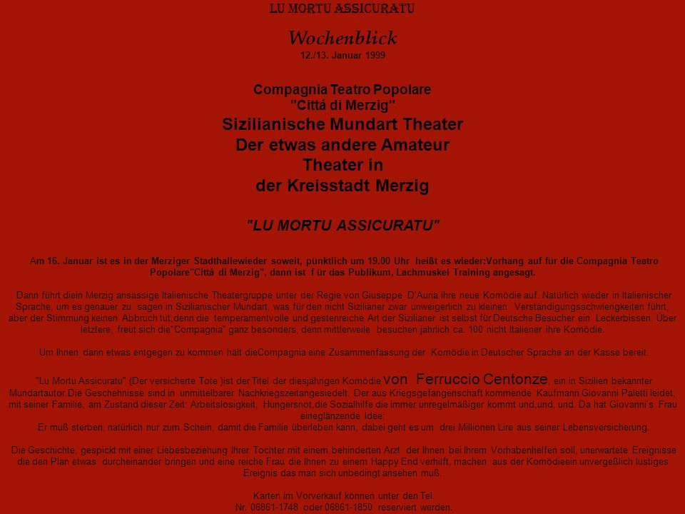 Wochenblick 12./13. Januar 1999 Sizilianische Mundart Theater