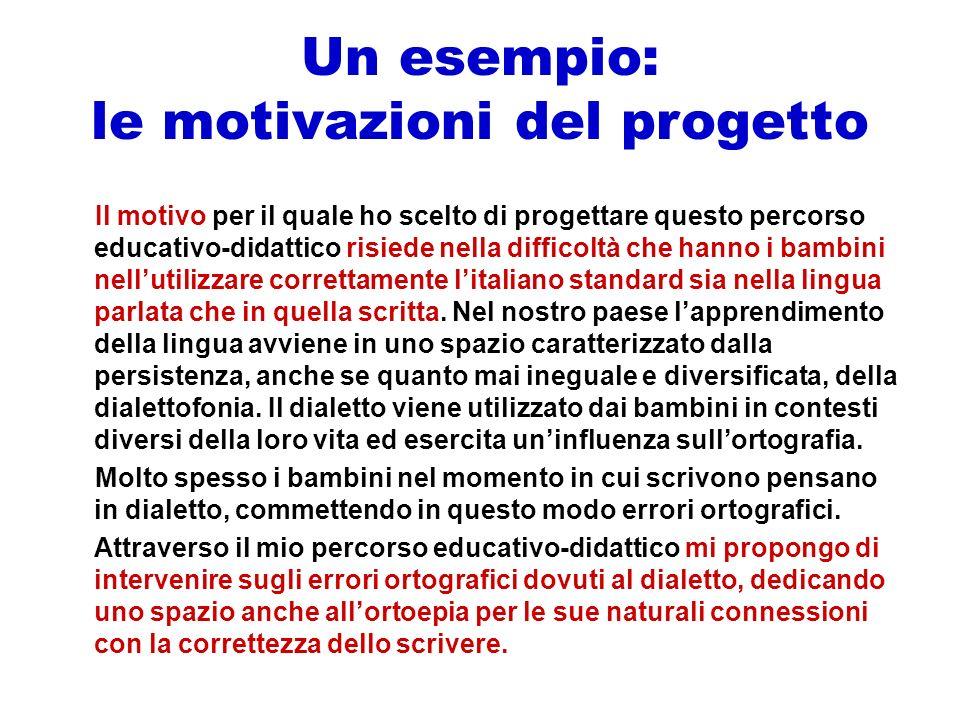 Un esempio: le motivazioni del progetto