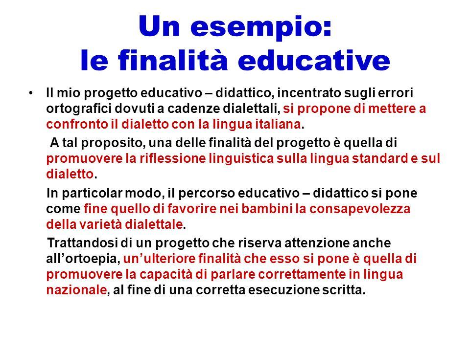 Un esempio: le finalità educative