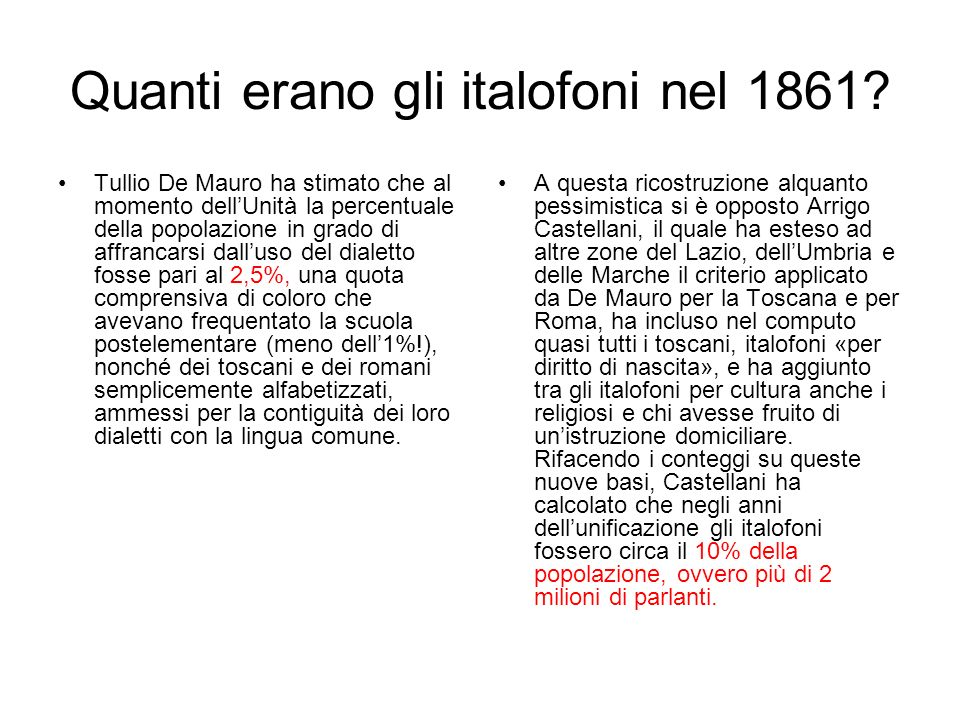 Quanti erano gli italofoni nel 1861
