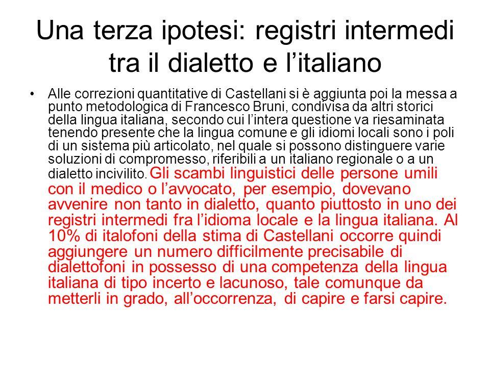 Una terza ipotesi: registri intermedi tra il dialetto e l'italiano