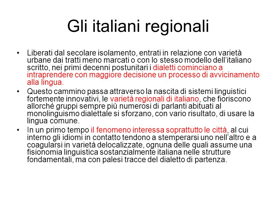 Gli italiani regionali