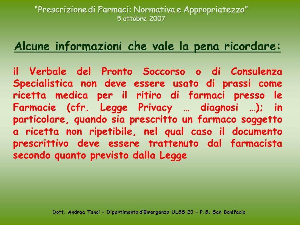 Prescrizione di Farmaci: Normativa e Appropriatezza 5 ottobre 2007