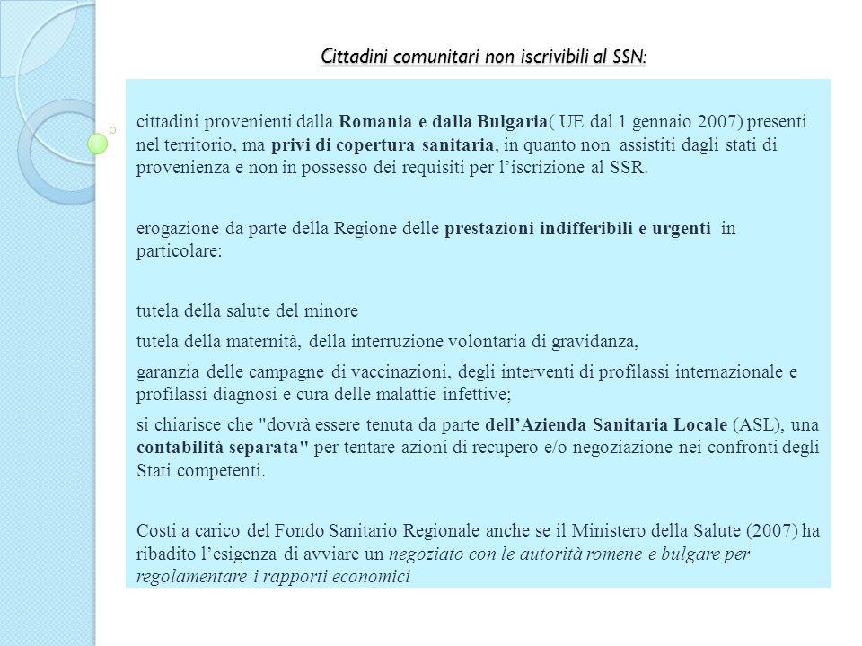 Cittadini comunitari non iscrivibili al SSN: