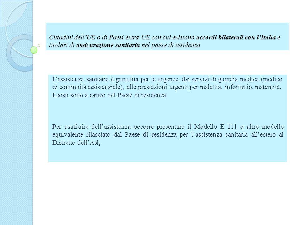 Cittadini dell'UE o di Paesi extra UE con cui esistono accordi bilaterali con l'Italia e titolari di assicurazione sanitaria nel paese di residenza