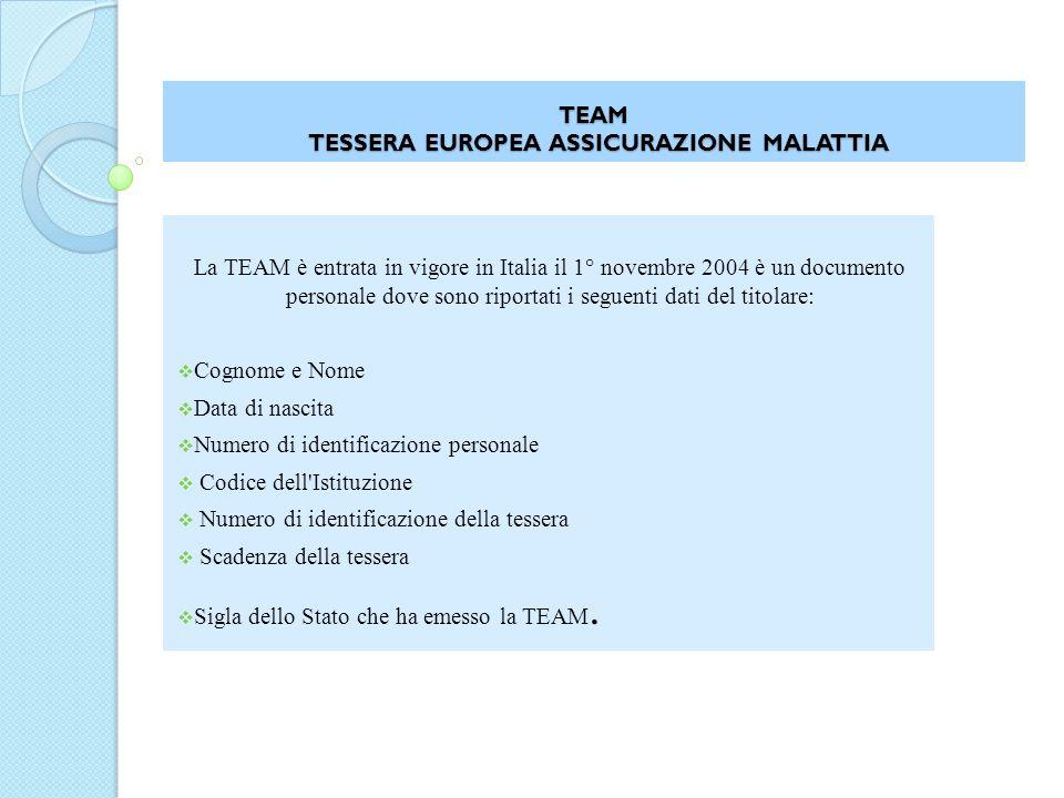 TEAM TESSERA EUROPEA ASSICURAZIONE MALATTIA