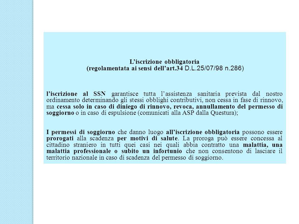 L'iscrizione obbligatoria