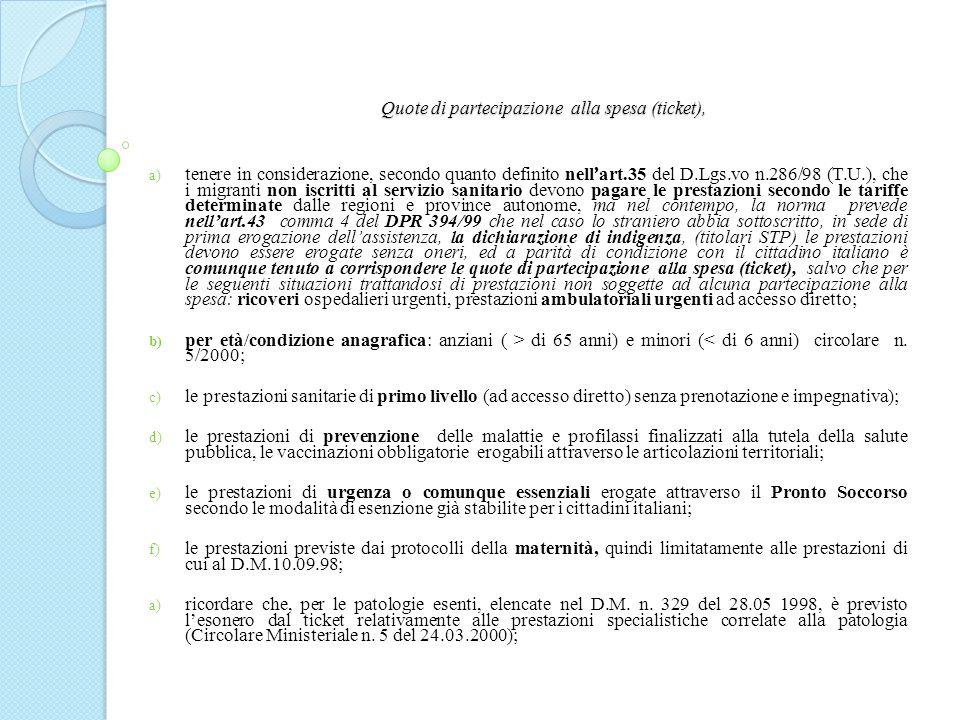 Quote di partecipazione alla spesa (ticket),