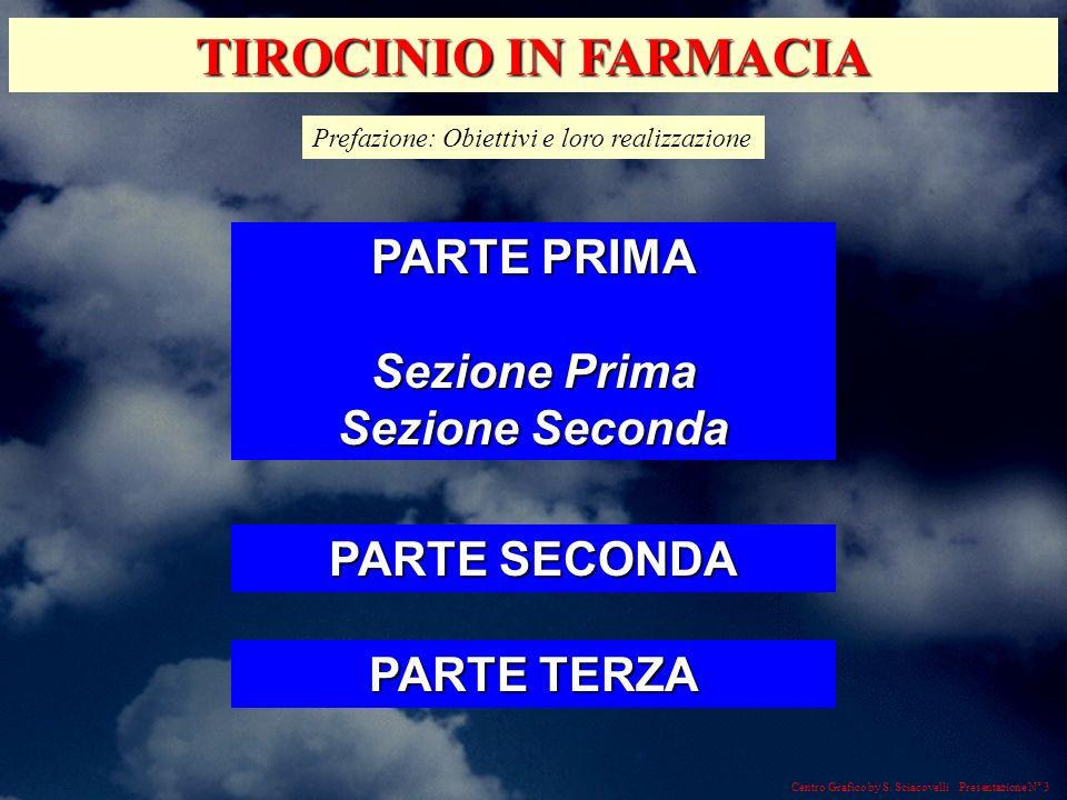 TIROCINIO IN FARMACIA PARTE PRIMA Sezione Prima Sezione Seconda