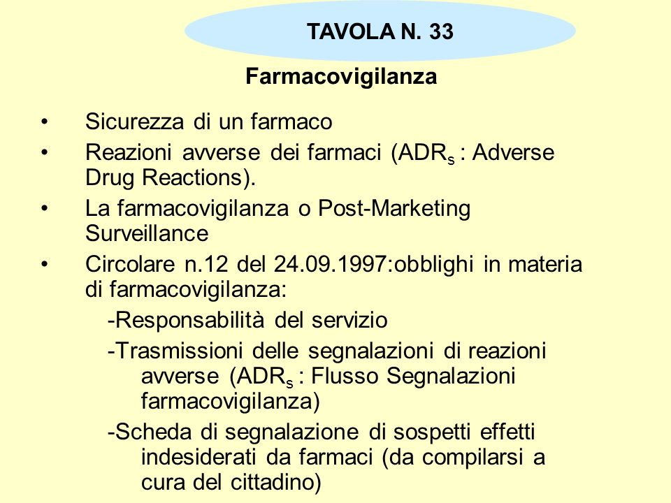 Sicurezza di un farmaco
