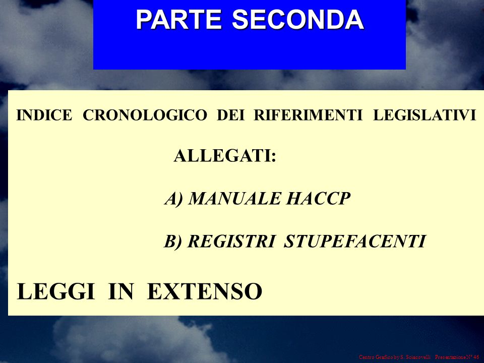 PARTE SECONDA ALLEGATI: A) MANUALE HACCP B) REGISTRI STUPEFACENTI