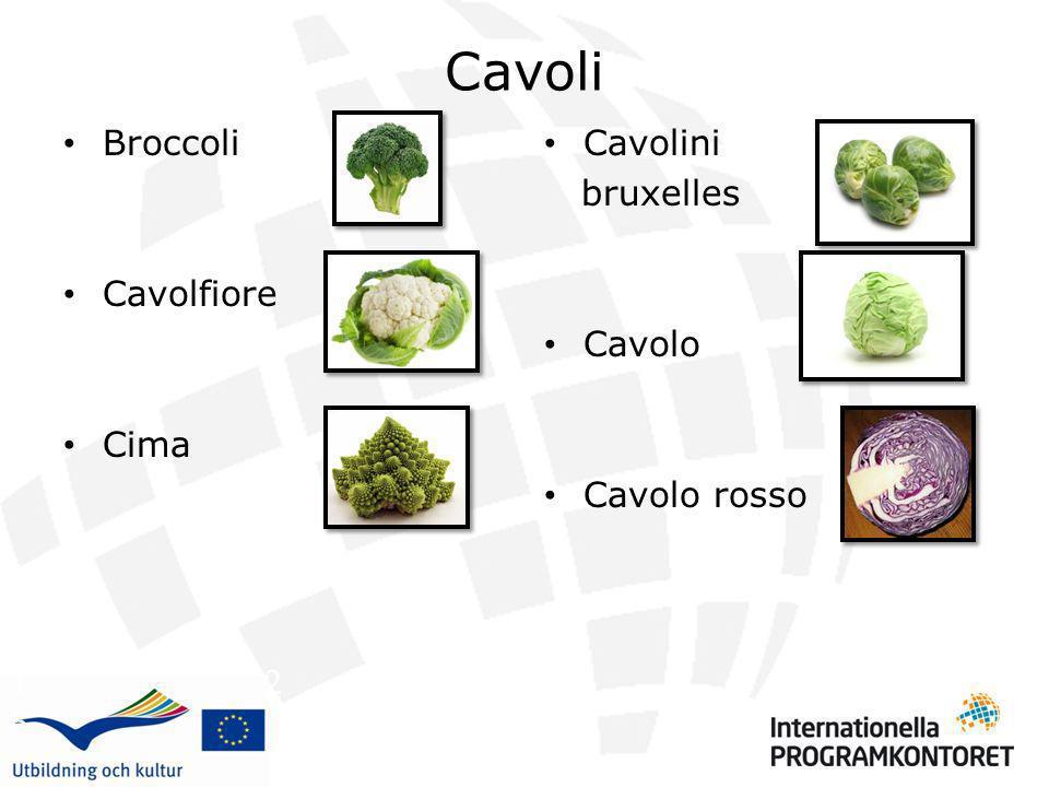 Cavoli Broccoli Cavolfiore Cima Cavolini bruxelles Cavolo Cavolo rosso