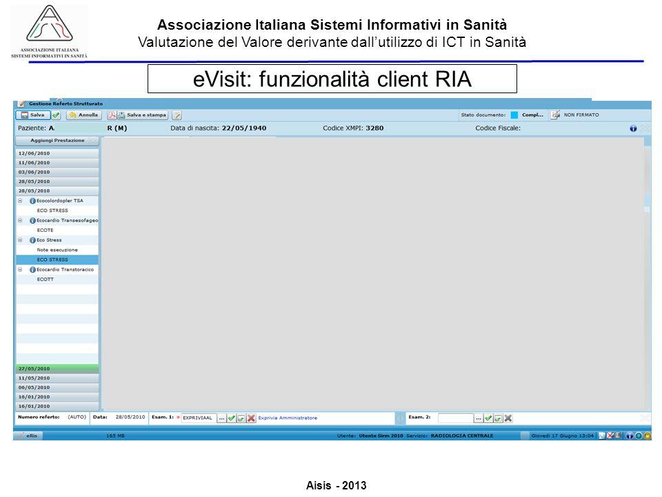 eVisit: funzionalità client RIA