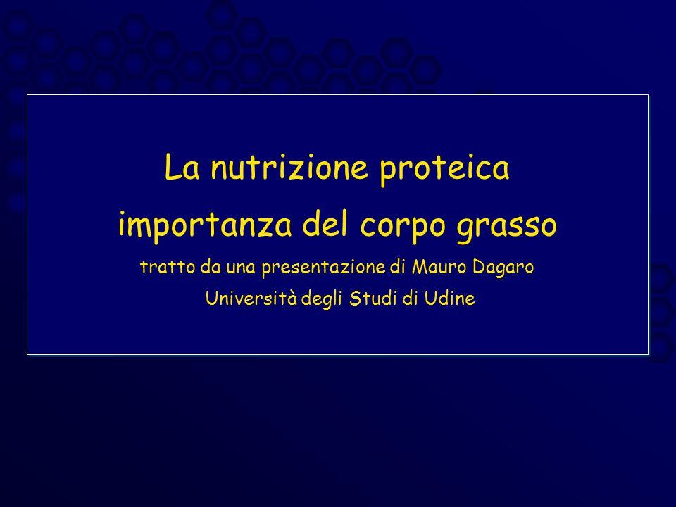 La nutrizione proteica importanza del corpo grasso tratto da una presentazione di Mauro Dagaro Università degli Studi di Udine
