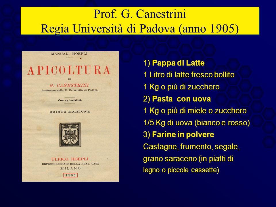 Prof. G. Canestrini Regia Università di Padova (anno 1905)