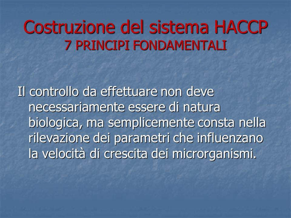 Costruzione del sistema HACCP 7 PRINCIPI FONDAMENTALI