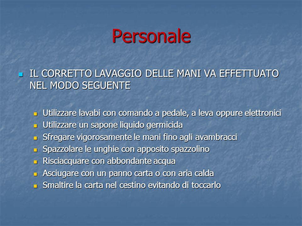 Personale IL CORRETTO LAVAGGIO DELLE MANI VA EFFETTUATO NEL MODO SEGUENTE. Utilizzare lavabi con comando a pedale, a leva oppure elettronici.
