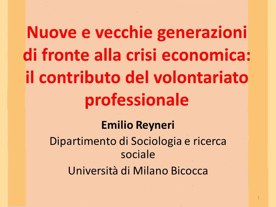 Nuove e vecchie generazioni di fronte alla crisi economica: il contributo del volontariato professionale