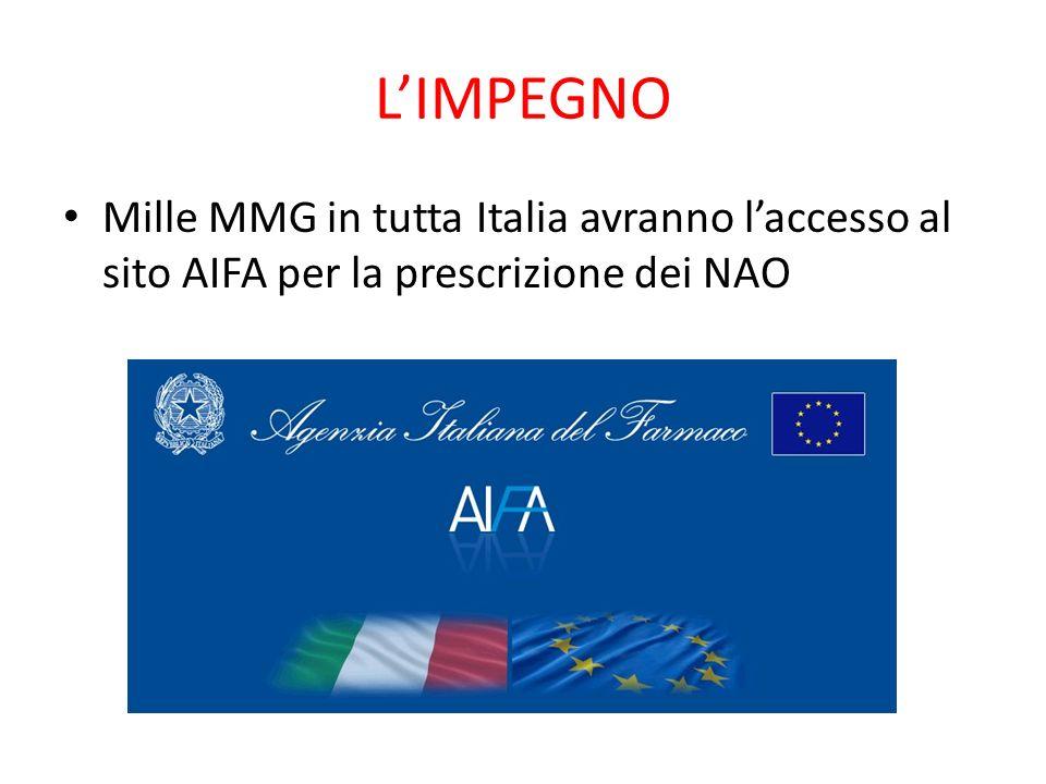 L'IMPEGNO Mille MMG in tutta Italia avranno l'accesso al sito AIFA per la prescrizione dei NAO