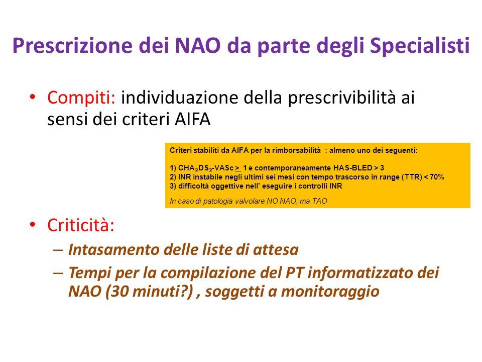 Prescrizione dei NAO da parte degli Specialisti