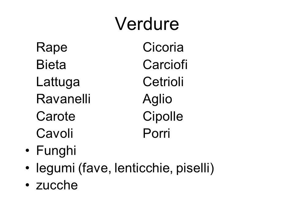 Verdure Rape Cicoria Bieta Carciofi Lattuga Cetrioli Ravanelli Aglio