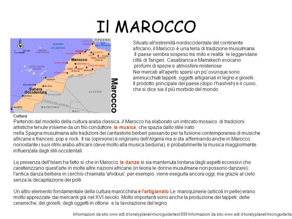 Il MAROCCO Situato all estremità nordoccidentale del continente africano, il Marocco è una terra di tradizione musulmana.