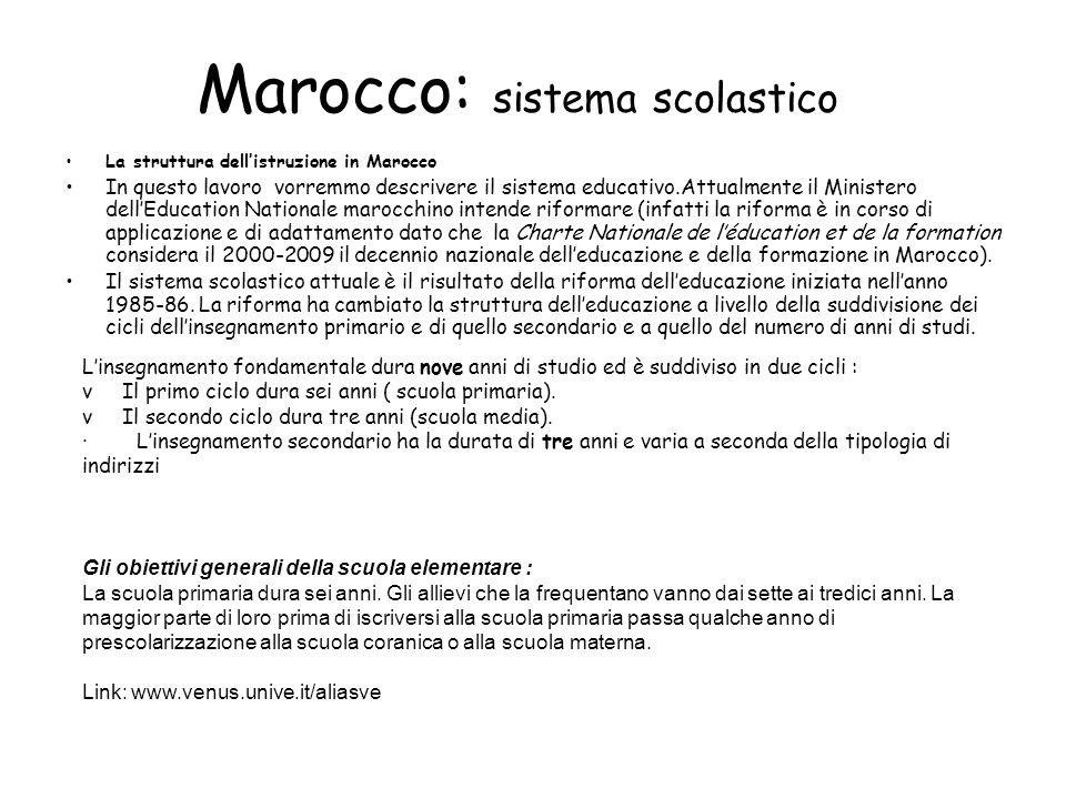 Marocco: sistema scolastico