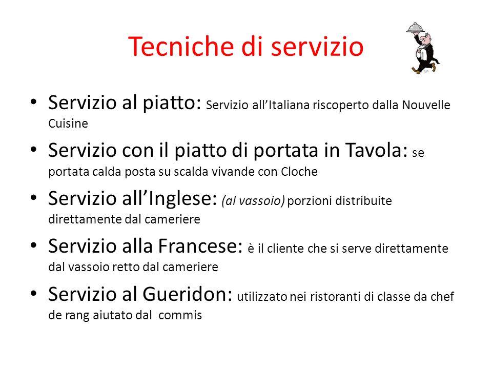 Tecniche di servizio Servizio al piatto: Servizio all'Italiana riscoperto dalla Nouvelle Cuisine.