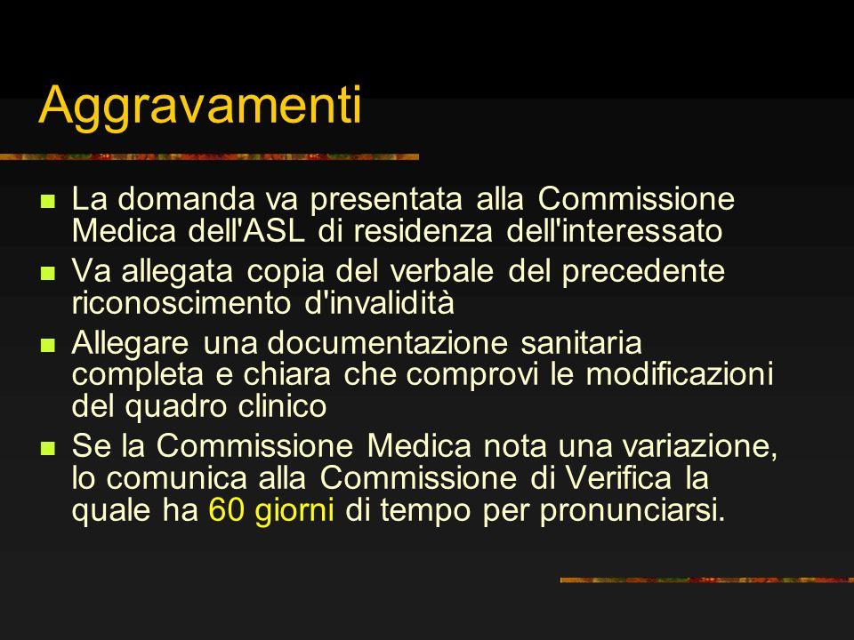Aggravamenti La domanda va presentata alla Commissione Medica dell ASL di residenza dell interessato.