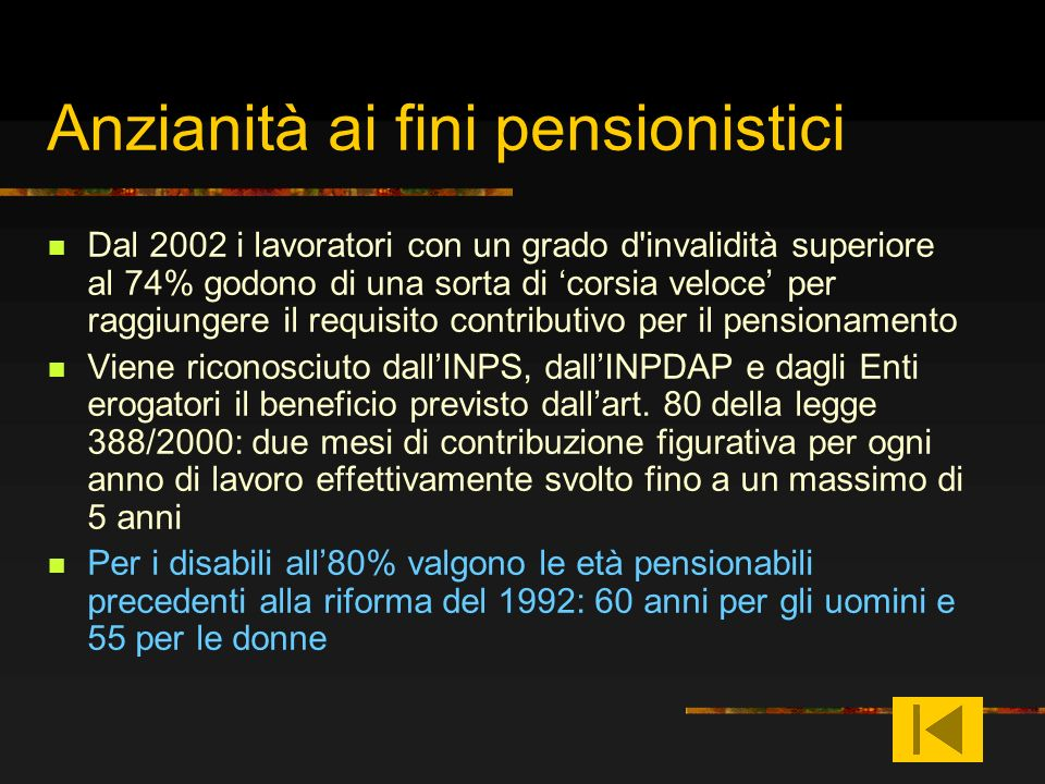 Anzianità ai fini pensionistici