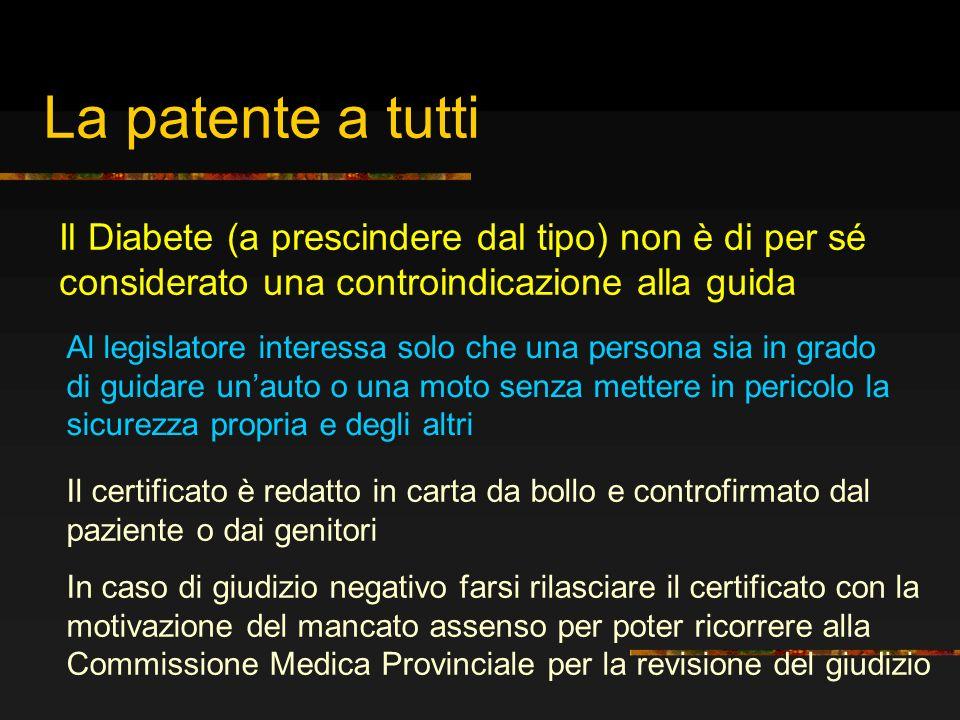 La patente a tutti Il Diabete (a prescindere dal tipo) non è di per sé considerato una controindicazione alla guida.
