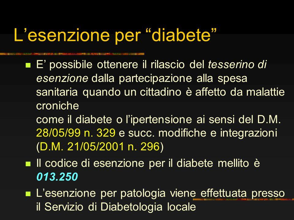 L'esenzione per diabete