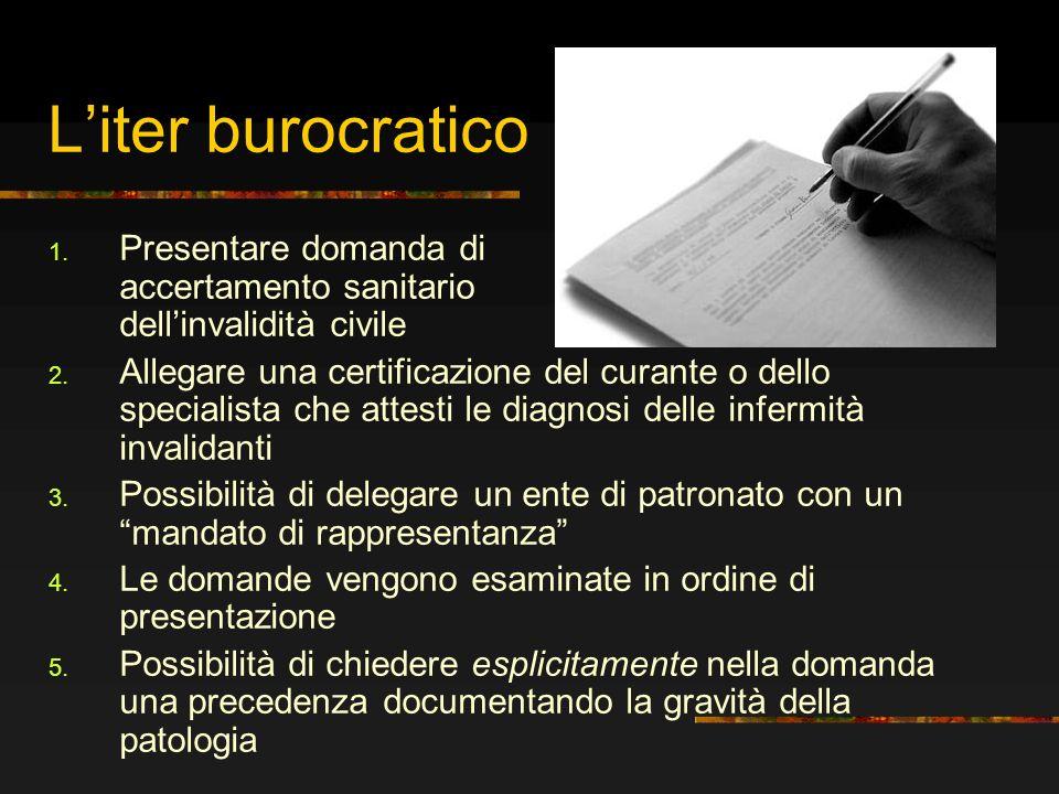 L'iter burocratico Presentare domanda di accertamento sanitario dell'invalidità civile.